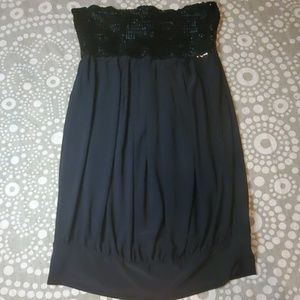 wet seal black sequined bust bubble dress